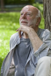 serene pensioner thinking about his free time